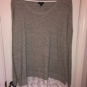 torrid Sweaters - Grey sweater with lace detail